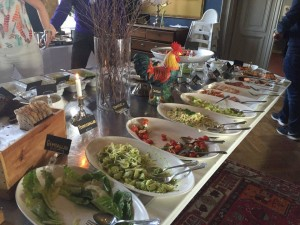 The buffet with different selection of herrings