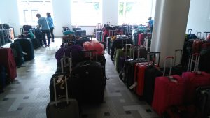 The neatly organised luggage room!