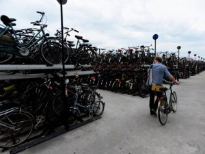 My home town's bicycle parking at the central station. (Not my own photo but here's the source.)